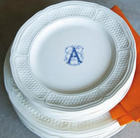 $40.00 Gien Pont Aux Choux monogrammed dessert plate & Polka-Dot Penguin Exclusives ~ Gien Pont Aux Choux monogrammed ...